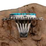 Turquoise Ring Sterling Silver AARON TOADLENA Natural Spiderweb Kingman 9 Navajo