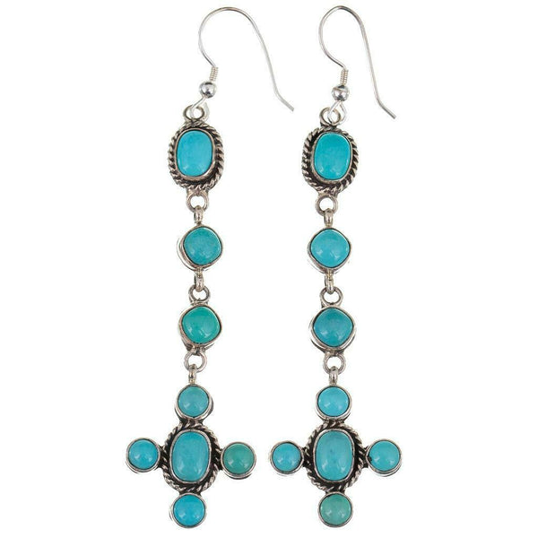 Bea Sandoval Long Turquoise Chandelier Earrings