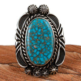 Turquoise Ring Waterweb Kingman Native American Tall Long Big 6 3/4 Rick Werito