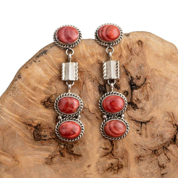 Nativer American Earrings Sterling Silver Red Spiny Oyster Long Totem Dangles