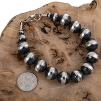 Antiqued NAVAJO PEARLS Bracelet Sterling Silver 12mm Handmade