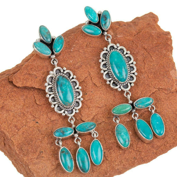 C. Wylie Long Turquoise Chandelier Earrings