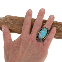 Turquoise Ring Sterling Silver AARON TOADLENA Natural Spiderweb Kingman 8 Navajo