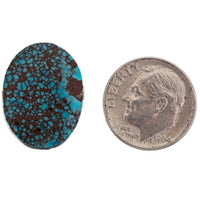 A+ EGYPTIAN TURQUOISE Cabochon Cab SPIDERWEBBED Old Natural Gem NOT Bisbee 10c
