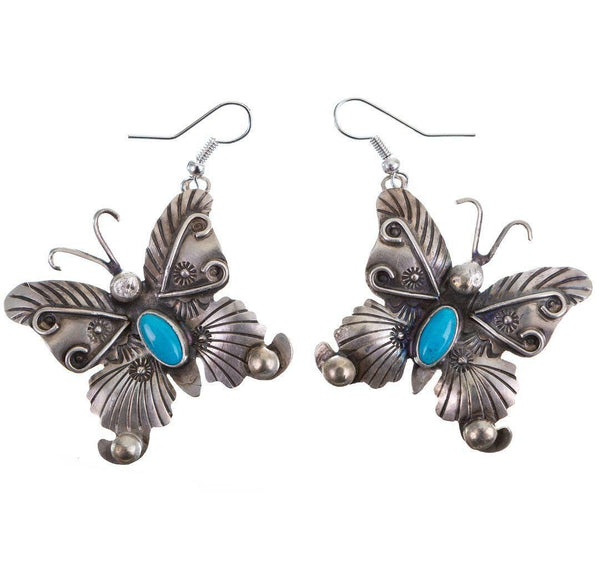 "Old Pawn Style Navajo Turquoise Earrings Sterling Silver ""Dancing Butterflys"""