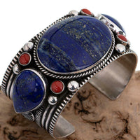 A+ Lapis Coral Bracelet GUY HOSKIE Sterling Silver Native American HEAVY CUFF