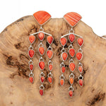 """TAOS SUNRISE"" Earrings Orange Spiny Oyster Shell Sterling Silver Old Style"