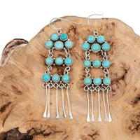 "Turquoise Earrings Sterling Silver ""WATERFALL"" NAKAI LONG Dangles Vintage Style"