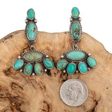 Native American Turquoise Earrings Navajo Cluster Sterling Silver Vintage Dangle