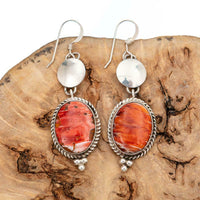 """Santa Fe SUNRISE"" Earrings Red Spiny Oyster Shell Sterling Silver Vintage"