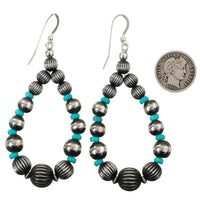 Navajo Pearls Turquoise Hoop Dangles P. Johnson