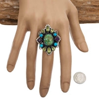 "LEO FEENEY Turquoise Ring ""HIDDEN EARTH"" Sterling Silver SONORAN GOLD 7 Gemstone"