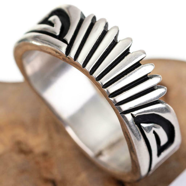 "NATIVE AMERICAN Ring Sterling Silver NELSON BEGAY ""Rising Sun"" Overlay 9.75"