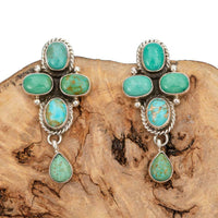 Navajo Turquoise Earrings Natural Cluster Sterling Silver Vintage Dangle