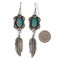 Navajo Turquoise Earrings Sterling Silver Vintage Old Style FEATHER  Dangles