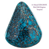 A+ BLACK WEB KINGMAN Natural Spiderweb Turquoise Cabochon Cab Nt Lander Blue 9.7