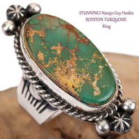 Navajo Turquoise Ring Sterling Silver ROYSTON Native American GUY HOSKIE 8.5