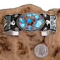 GOLDEN HILL Turquoise Bracelet THUNDERBIRD Sterling Silver ANDY CADMAN Navajo