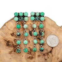 Native American Turquoise Earrings CARICO LAKE Sterling Silver LONG Dangles