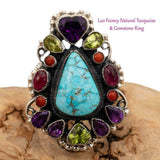"LEO FEENEY Turquoise Ring ""Amethyst Heart"" Sterling Silver Gemstones 8.25 8 1/4"