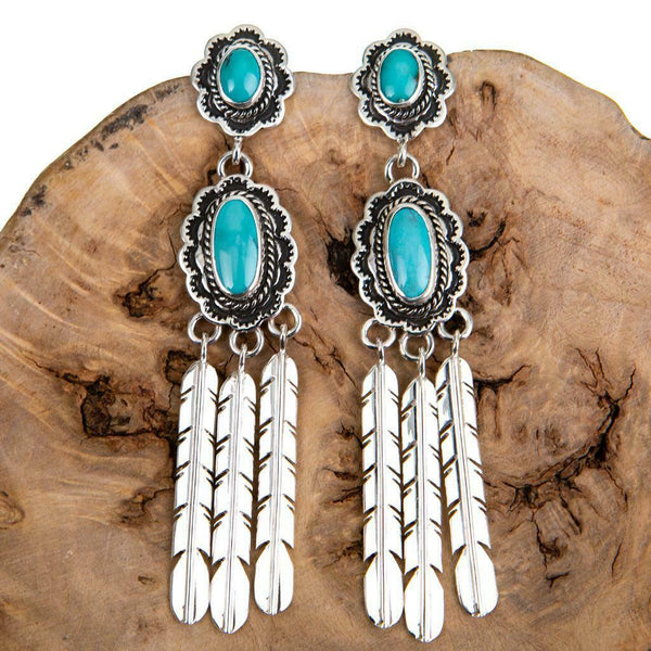 Navajo Turquoise Long Feather Dangles
