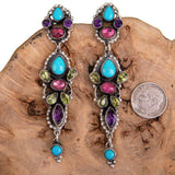 "LEO FEENEY Turquoise Earrings Sterling Silver Chandelier ""Water Spirit"" Long"