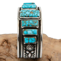 Native American Turquoise Bracelet Sterling Silver Natural KINGMAN ALBERT JAKE S