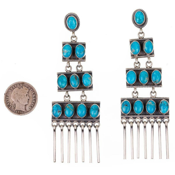 Elgin Tom Long Dangle Turquoise Earrings