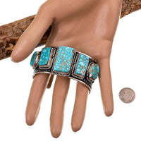 Native American Turquoise Bracelet Sterling Silver Natural HEAVY Row ALBERT JAKE