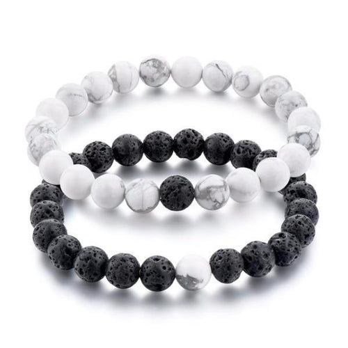 Black Lava Stones and White Howlite Beads Distance Bracelets [Set of 2]