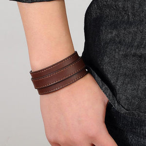 Punk Buckle Leather Cuff Bracelet [2 Variants]