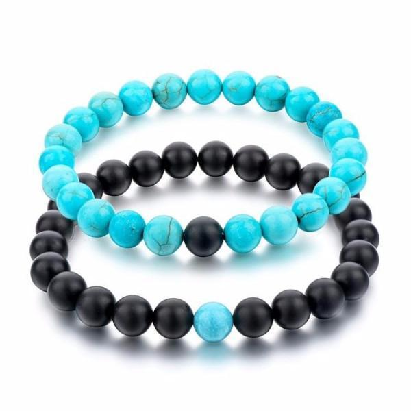 Black Matte Agate and Turquoise Natural Stone Distance Bracelets [Set of 2]