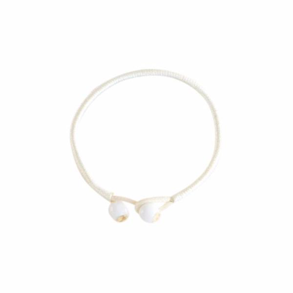 Violence Against Women White String Ceramic Bracelets [Set of 2]