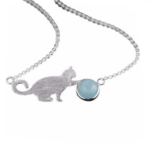 Playful Kitty Blue Stone Ball Pendant Necklace