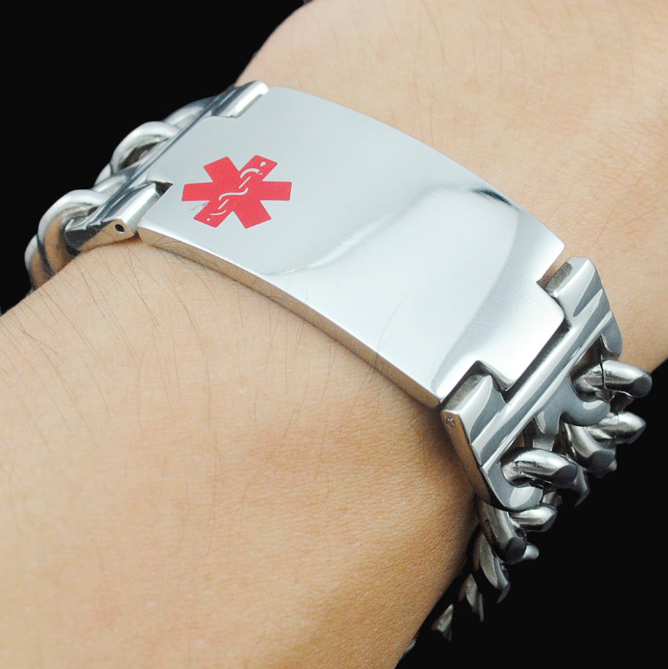 Custom Engraving Medical ID Stainless Steel Double Chain Bracelet