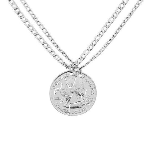 Double Horse Friendship Pendant Necklace