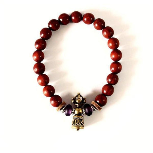 Red Sanderswood Mala Prayer Beads Bracelet