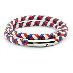 Team France Braided Wrap Leather Bracelet
