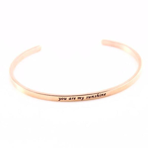 Multi-Engraved Mantra Positive Inspirational Quote Bangle Bracelet