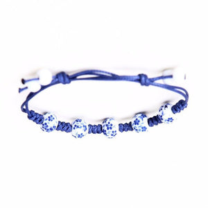 Elegant Floral Ceramic Beads Blue Adjustable Rope Bracelet