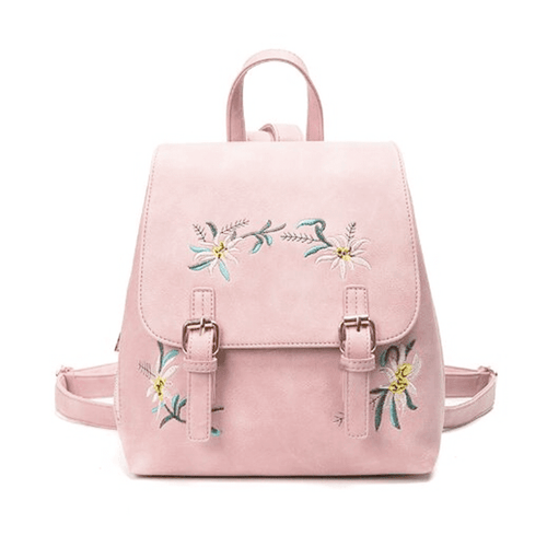 WOMEN'S CLASSIC EMBROIDERED LEATHER MINI BACKPACK [4 VARIANTS]