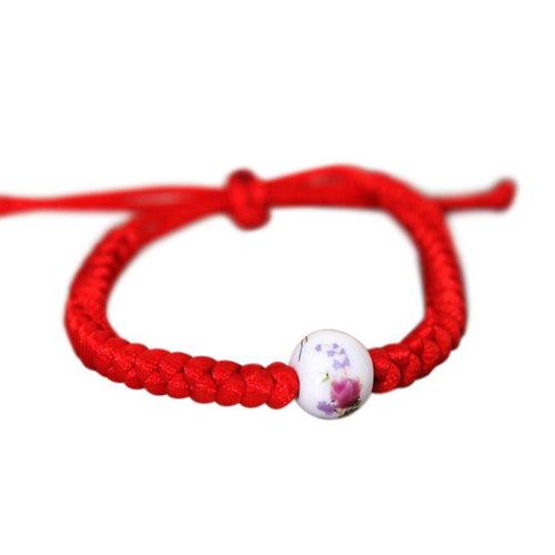 Floral Porcelain Bead Braided Rope Bracelet [4 Variations]