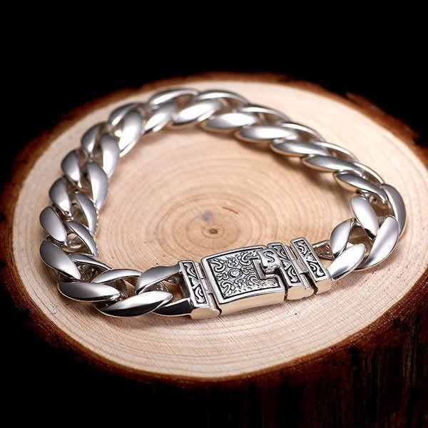 Yintai Cuban Medium Silver Luxury Bracelet