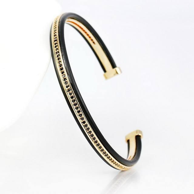 Micro Pave Cubic Zirconia Stylish Cuff Bangle Bracelets