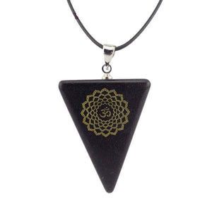 Natural Obsidian Chakra Triangle Pendant Necklace [7 variations]