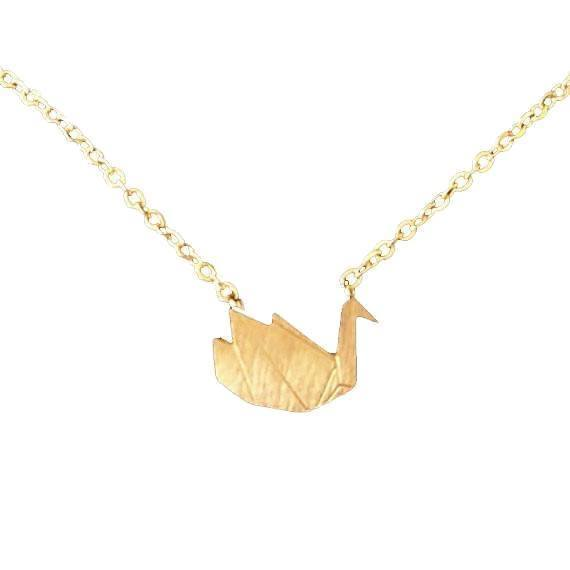 Origami Crane Pendant Necklace [Silver or Gold]