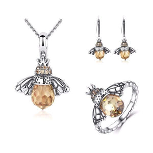 Lovely Honey Bee Silver Jewelry Set