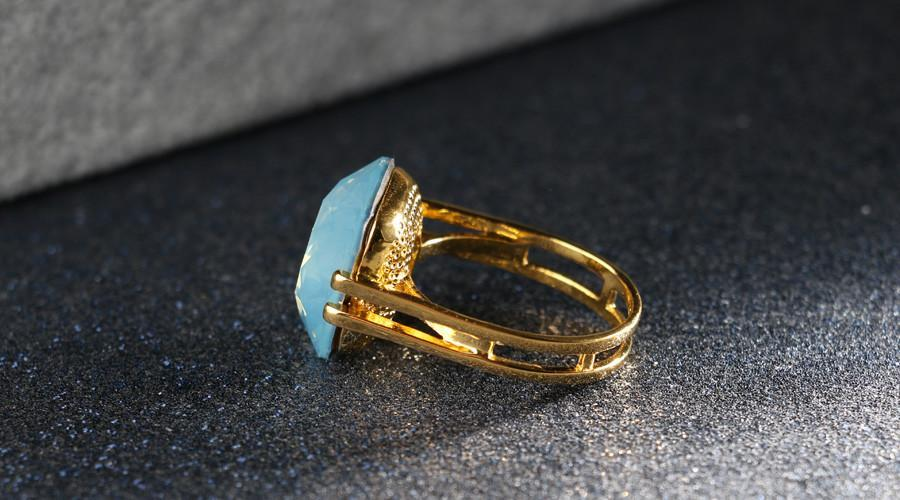 Ocean Blue Opal Gold Square Ring [2 Variants]