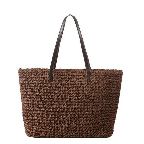 Casual Recycled-Straw Neutral Tote Bag [4 Variants]
