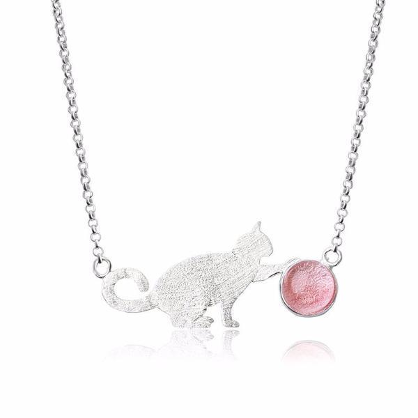 Playful Kitty Natural Stone Ball Pendant Necklace